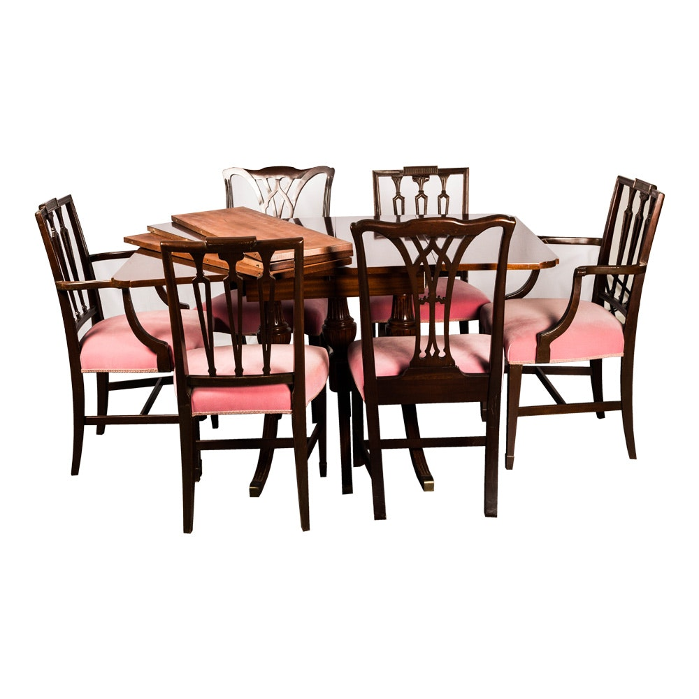 Hepplewhite Style Drop-Leaf Dining Table with Six Assembled Chairs