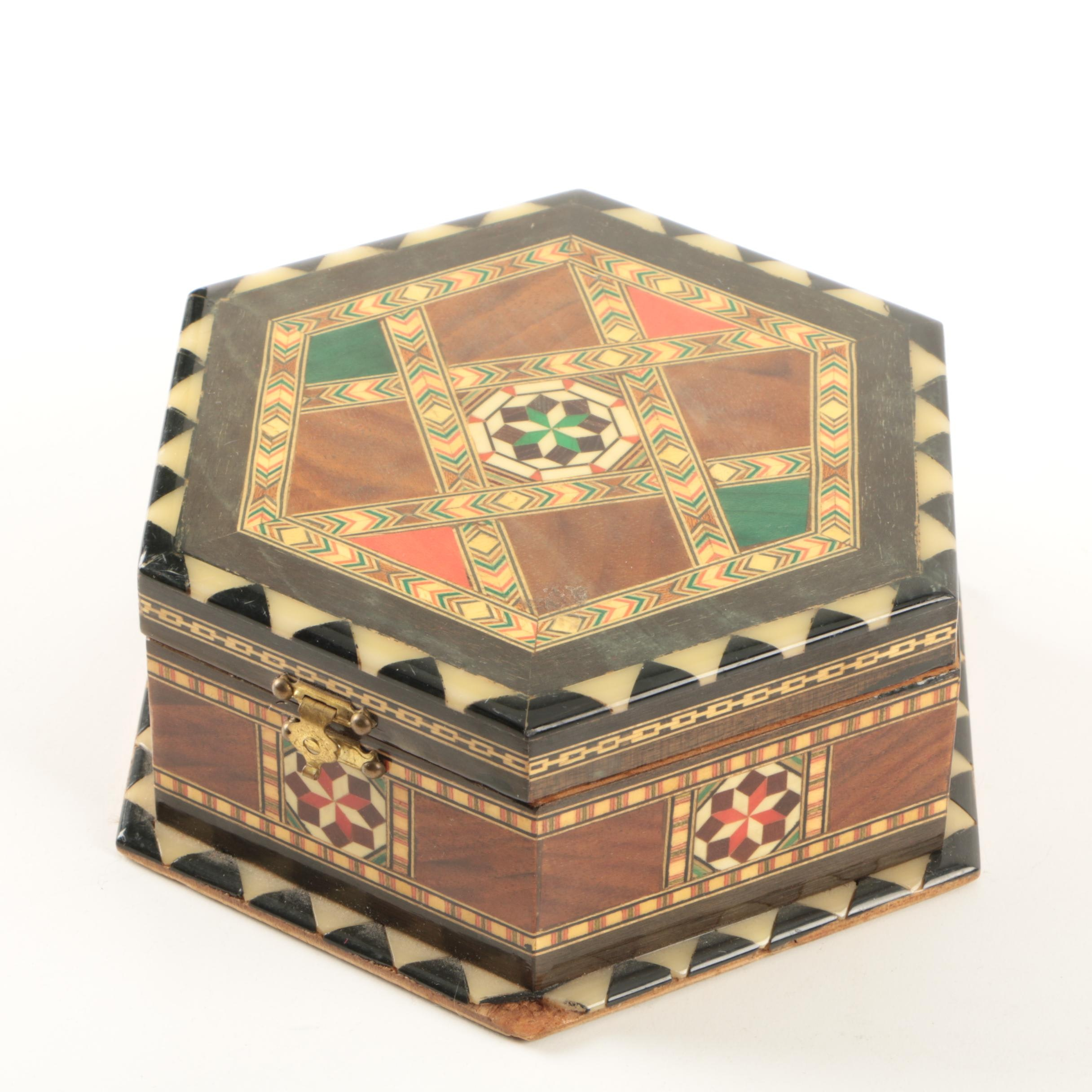 Vintage Marquetry Inlaid Jewelry Box