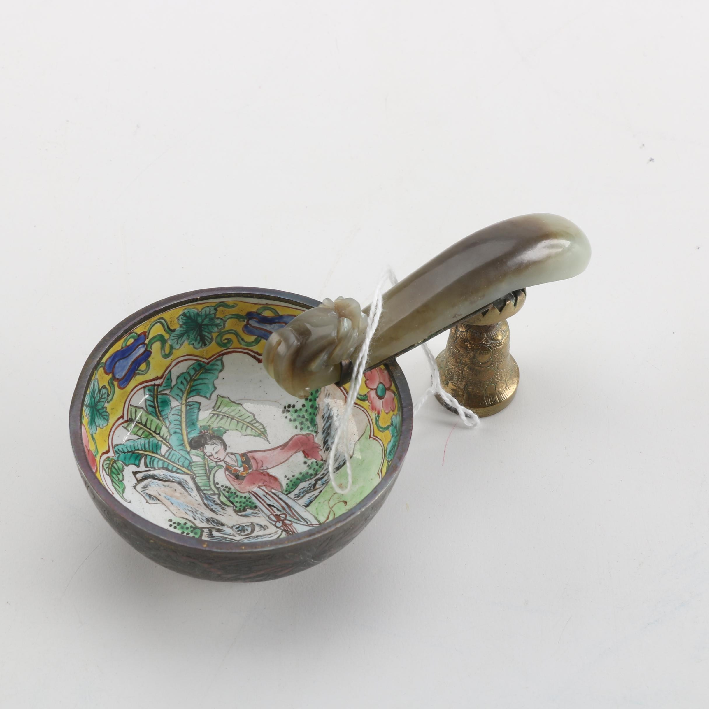 19th Century Chinese Enameled Wine Cup and Carved Bowenite Dragon Belt Hook