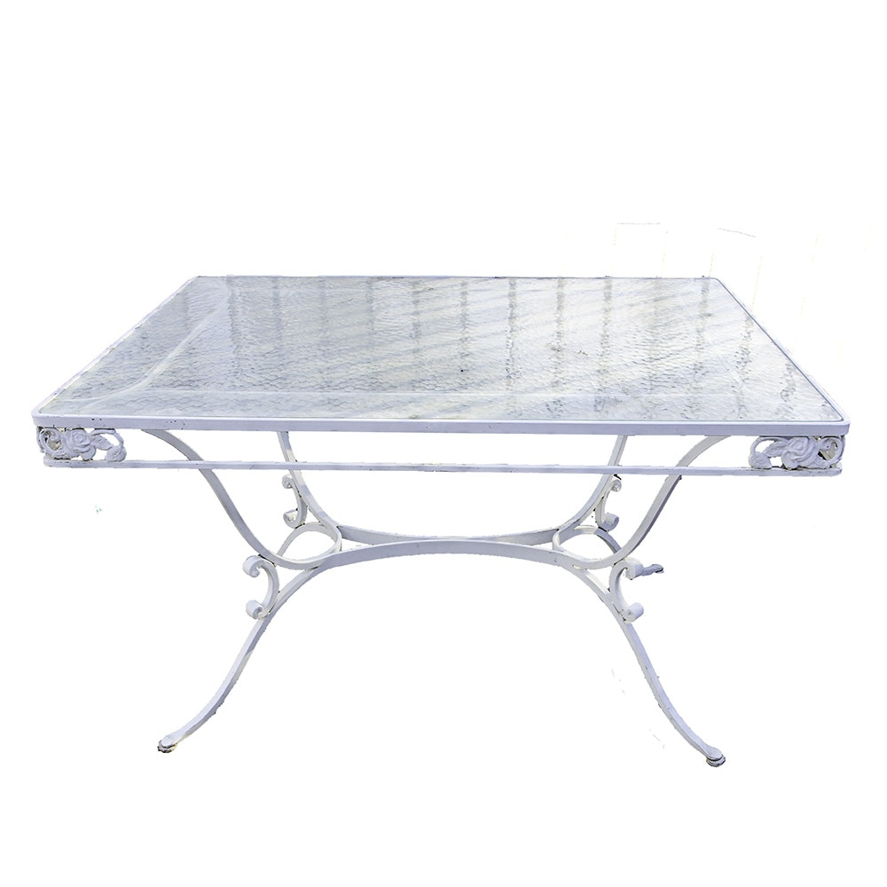 White Metal Patio Table