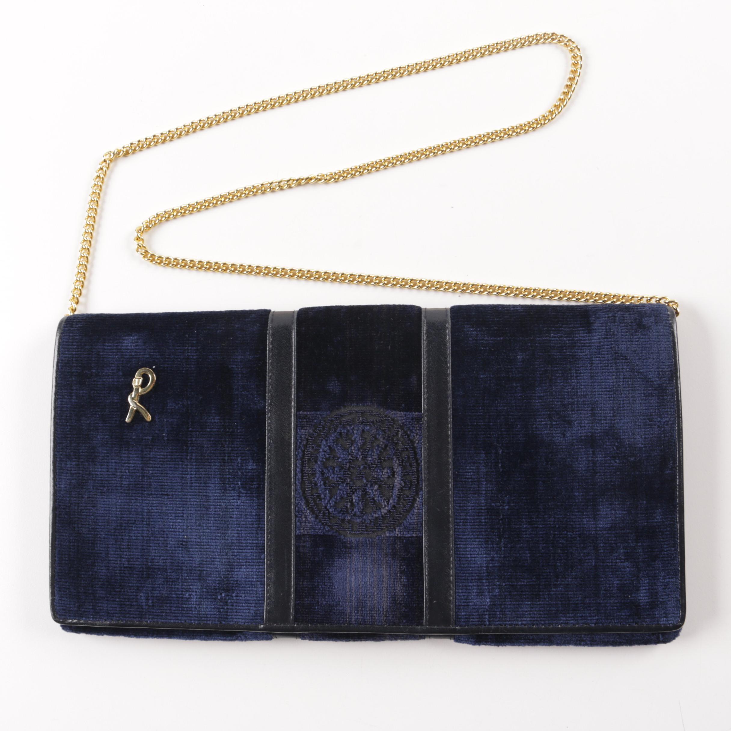 Vintage Roberta Di Camerino Blue Velvet and Leather Shoulder Bag