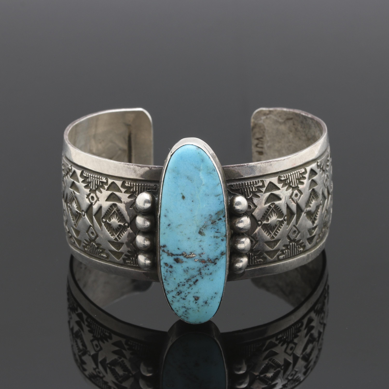 Vincent James Platero Navajo Diné Sterling Silver Turquoise Cuff Bracelet