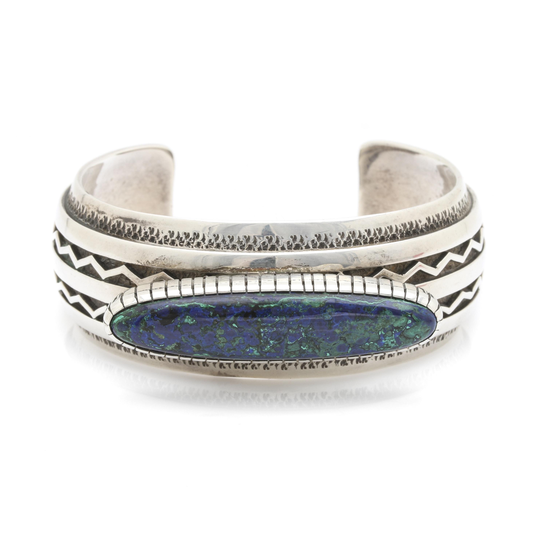 Allison Lee Navajo Sterling Silver Azurmalachite Cuff Bracelet