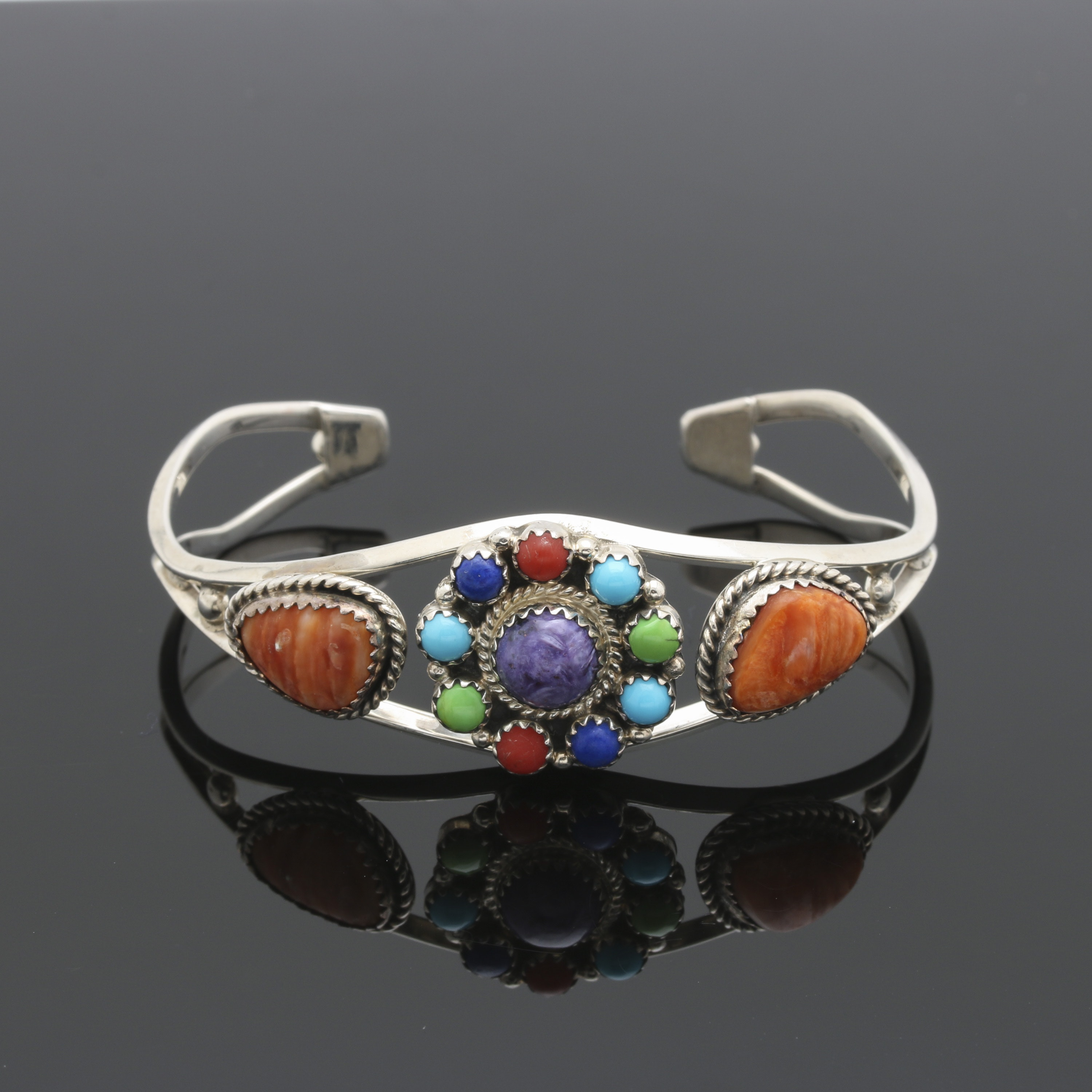 Running Bear Trading Co. Sterling Silver Stone Cuff Bracelet With Spiny Oyster