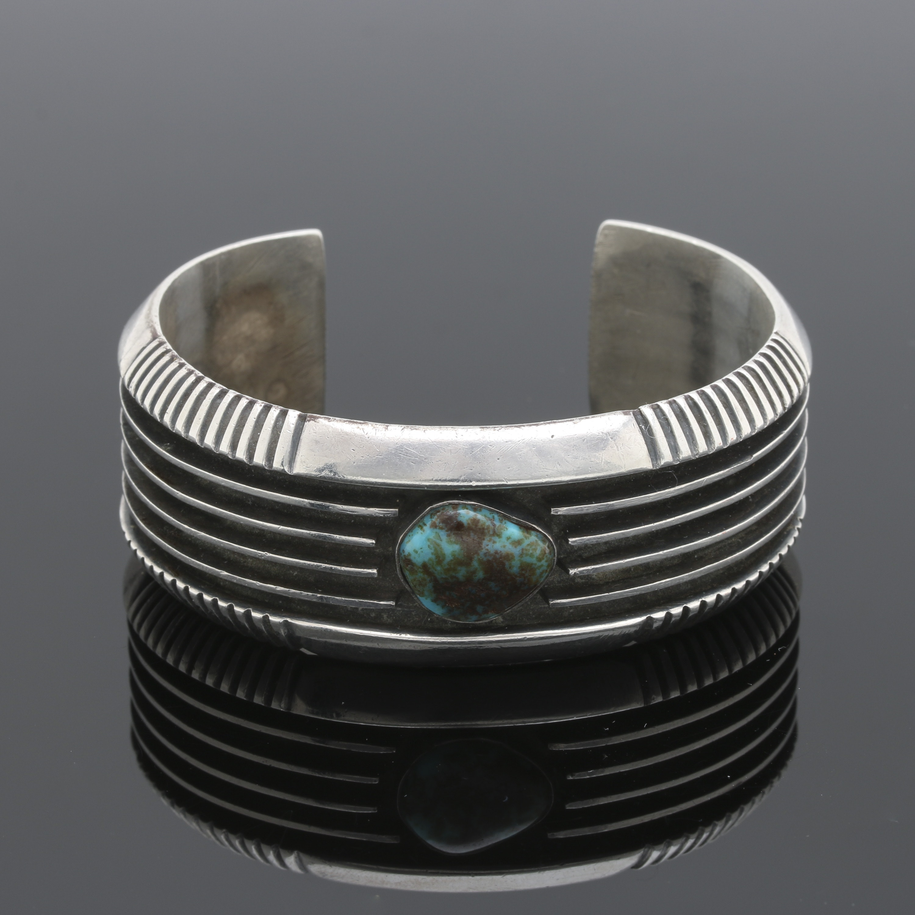 Johnny Mike Begay Navajo Sterling Silver Turquoise Cuff Bracelet
