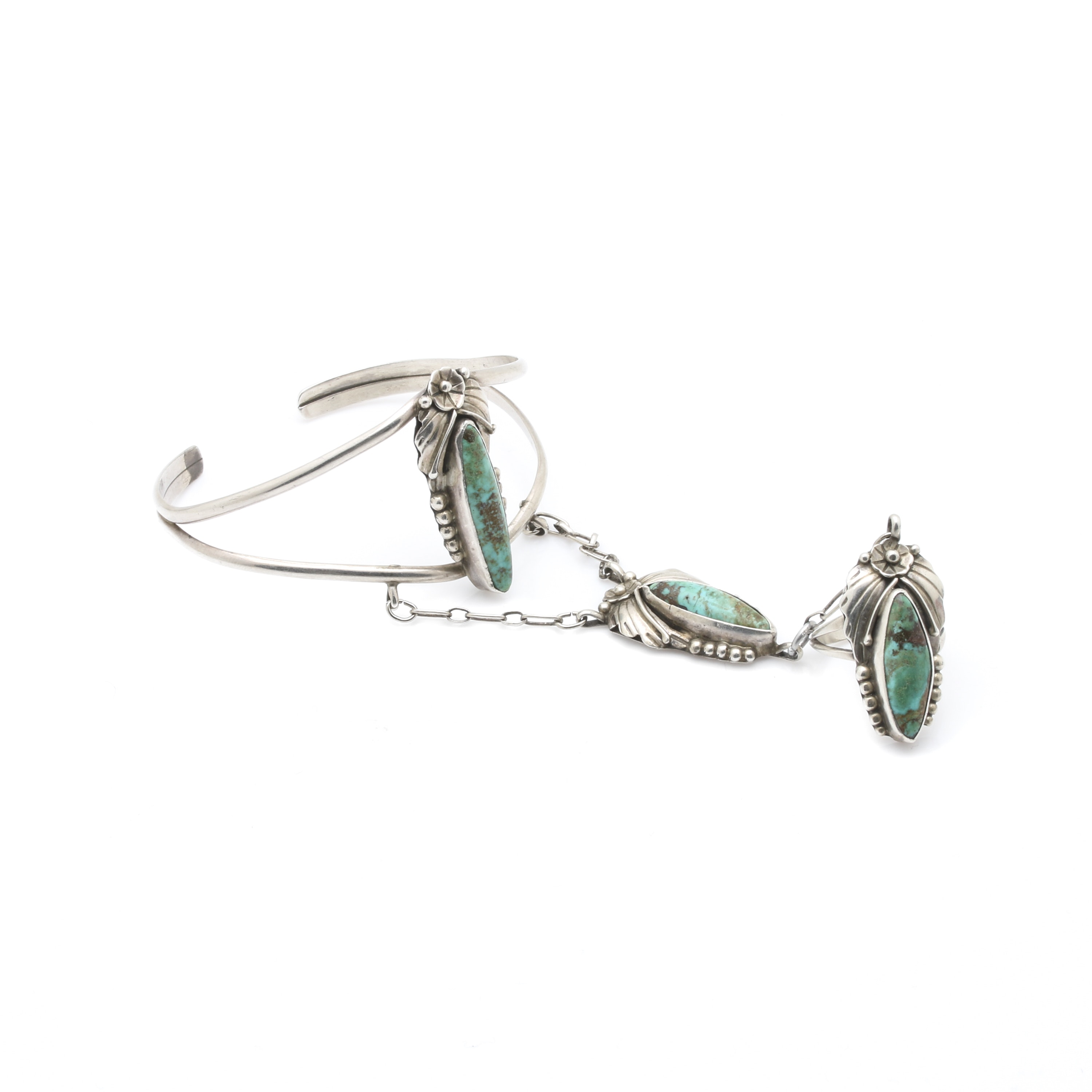 Sterling Silver Turquoise Cuff Slave Bracelet