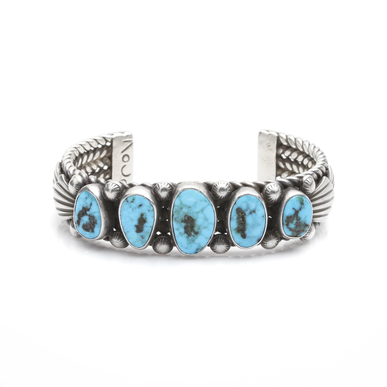Southwestern Sterling Silver Turquoise Cuff Bracelet