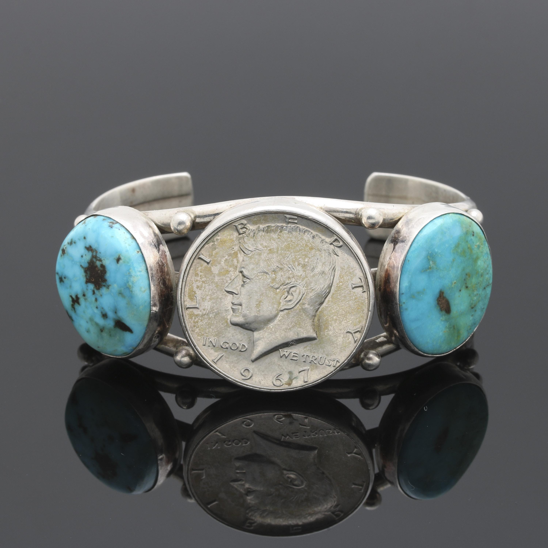 Sterling Silver Turquoise Half Dollar Cuff Bracelet