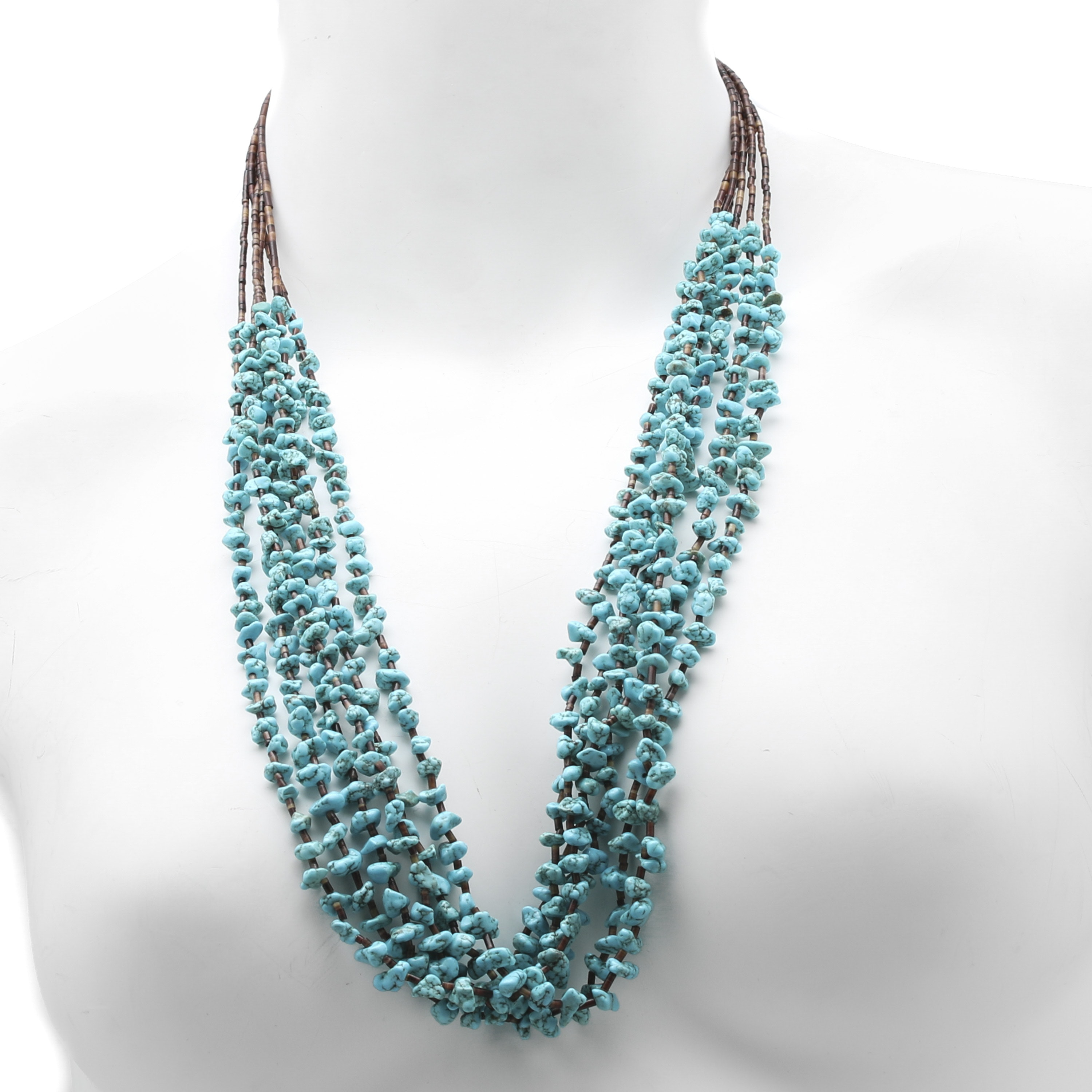 Southwest Style Sterling Silver Turquoise and Heishi Shell Strand Necklace