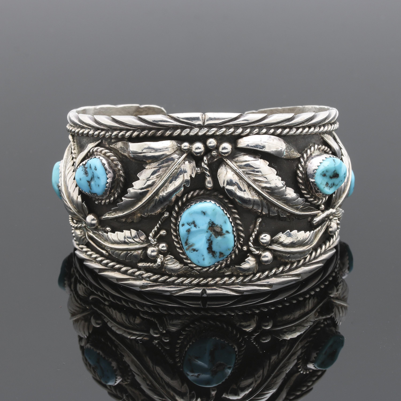 Sterling Silver Stabilized Turquoise Foliate Cuff Bracelet