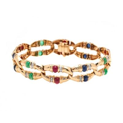14K Yellow Gold Diamond and Gemstone Bracelet