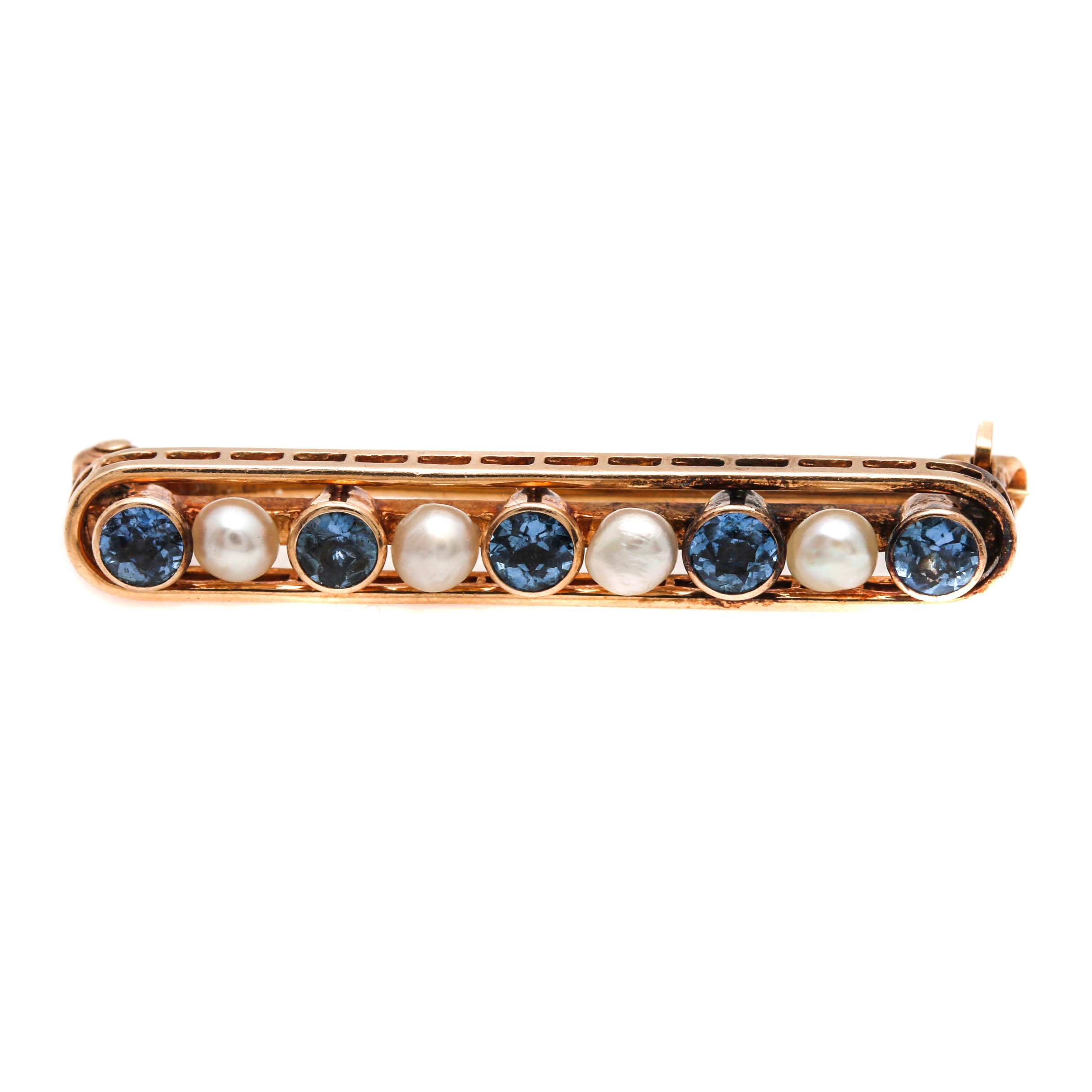 Vintage 14K Yellow Gold Sapphire and Seed Pearl Bar Brooch