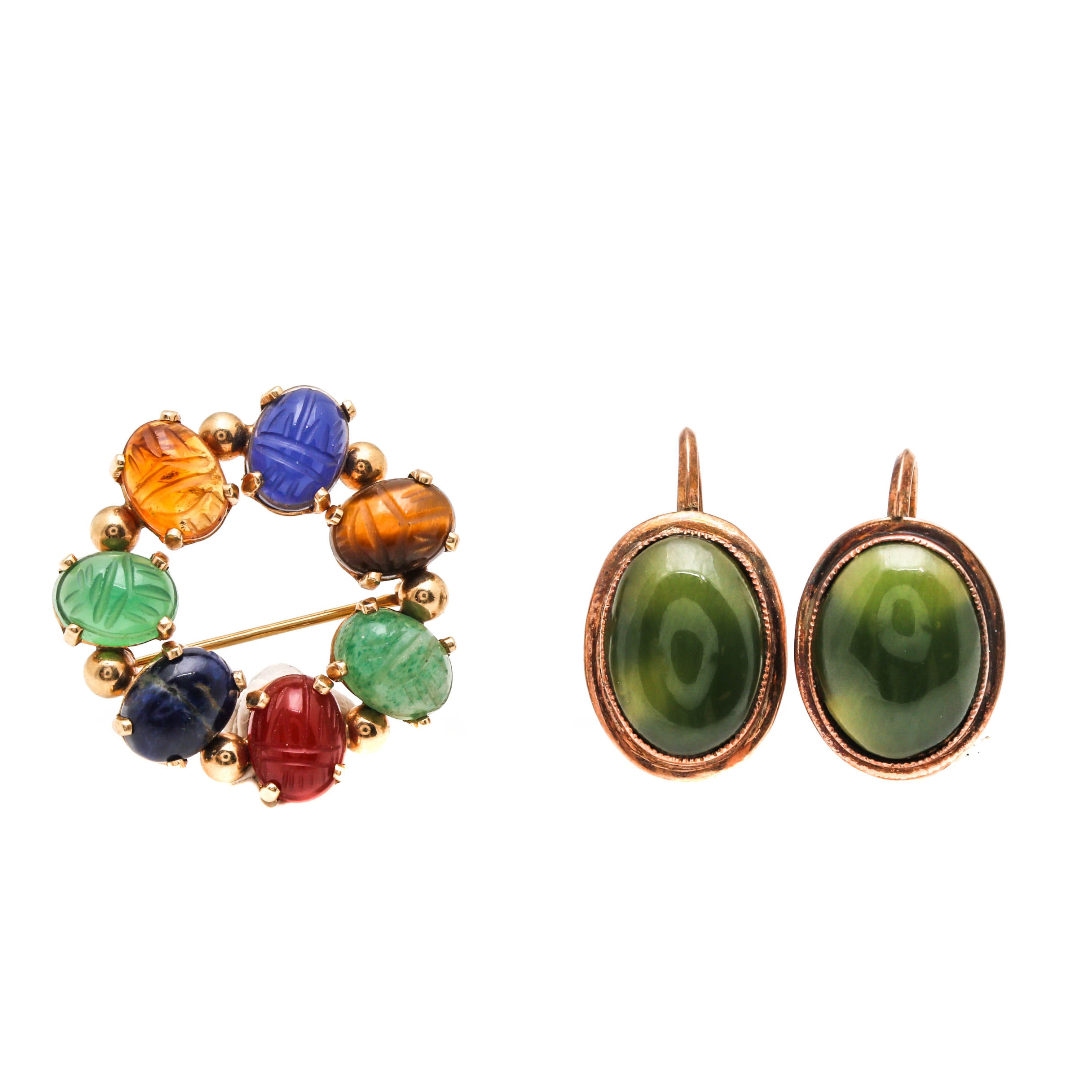 Binder Bros. 14K Yellow Gold Scarab Brooch and 10K Gold Nephrite Earrings