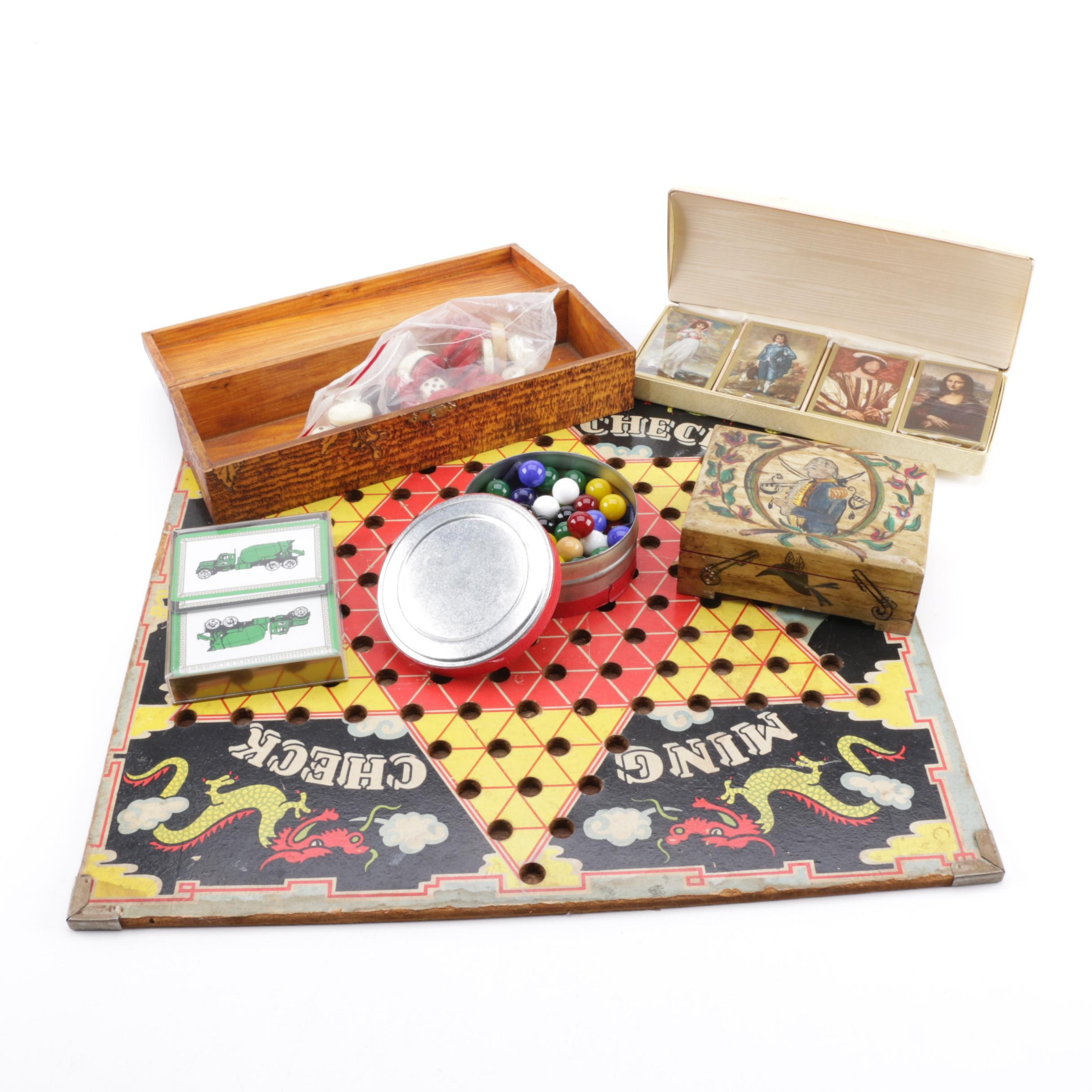 Vintage Ming Check Chinese Checker Board and Game Accessories