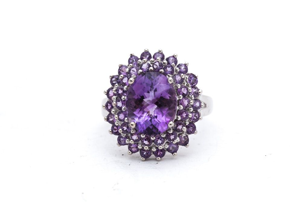 14K White Gold 5.00 CTW Amethyst Ring