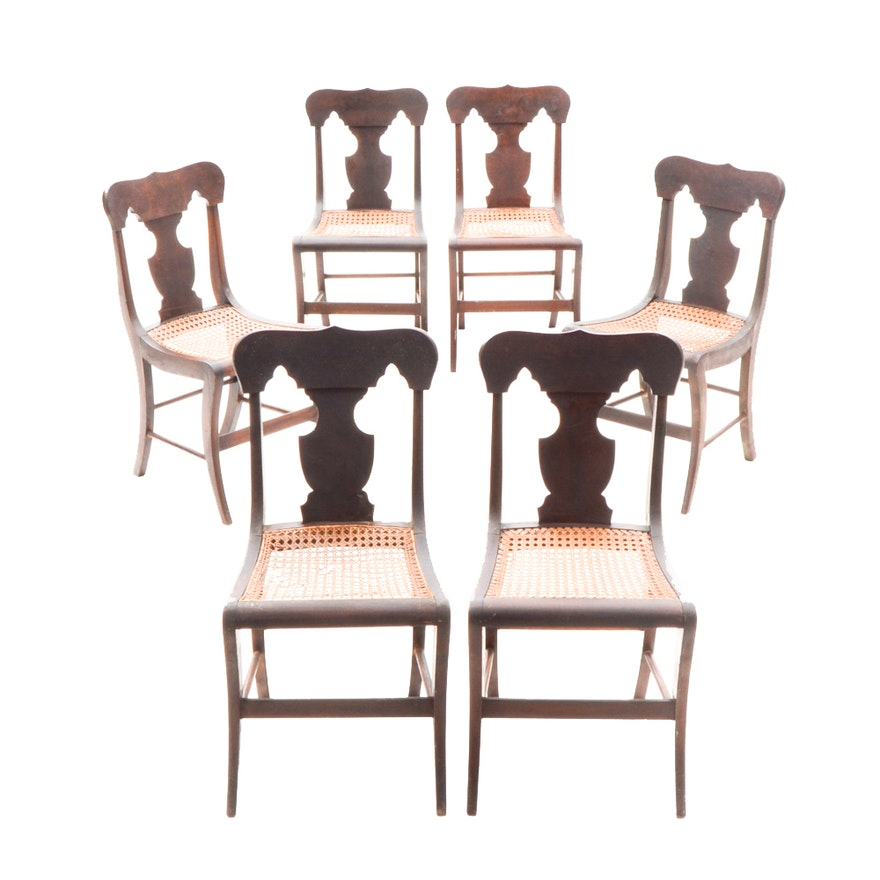 Set Of Antique American Empire Style Dining Chairs