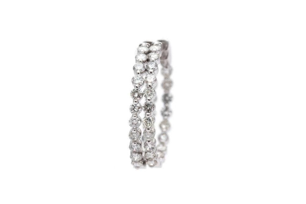 14K White Gold 2.24 CTW Diamond Inside Out Hoop Earrings