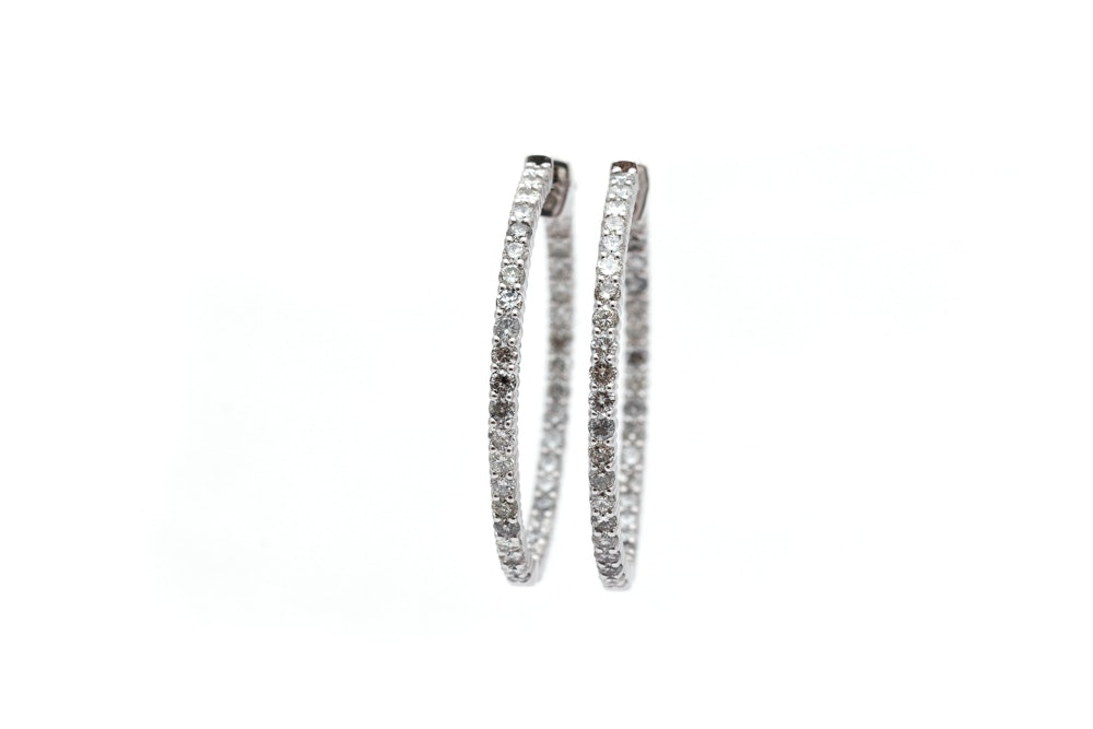 14K White Gold 2.84 CTW Diamond Inside Out Hoop Earrings
