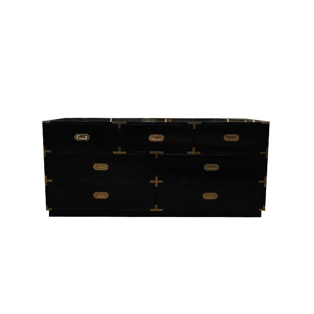 Campaign Style Seven Drawer Black Dresser
