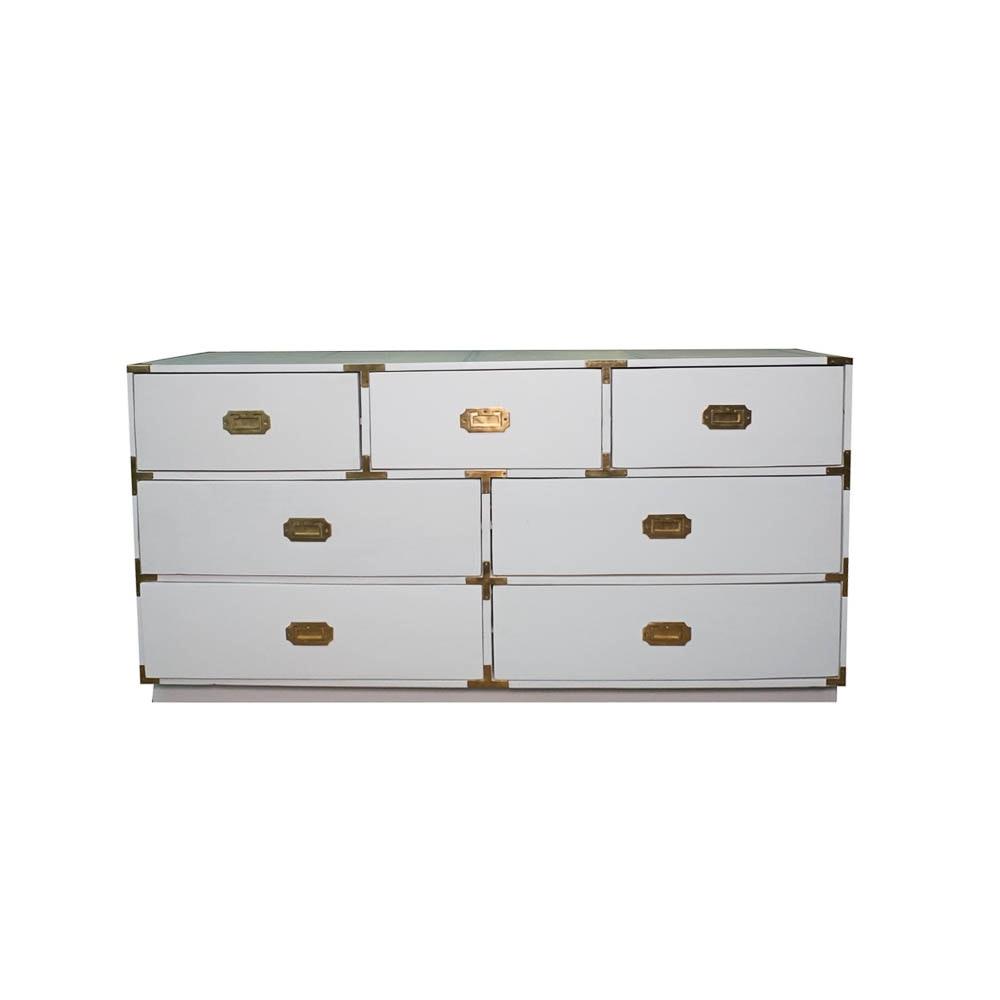 Campaign Style Seven Drawer White Dresser