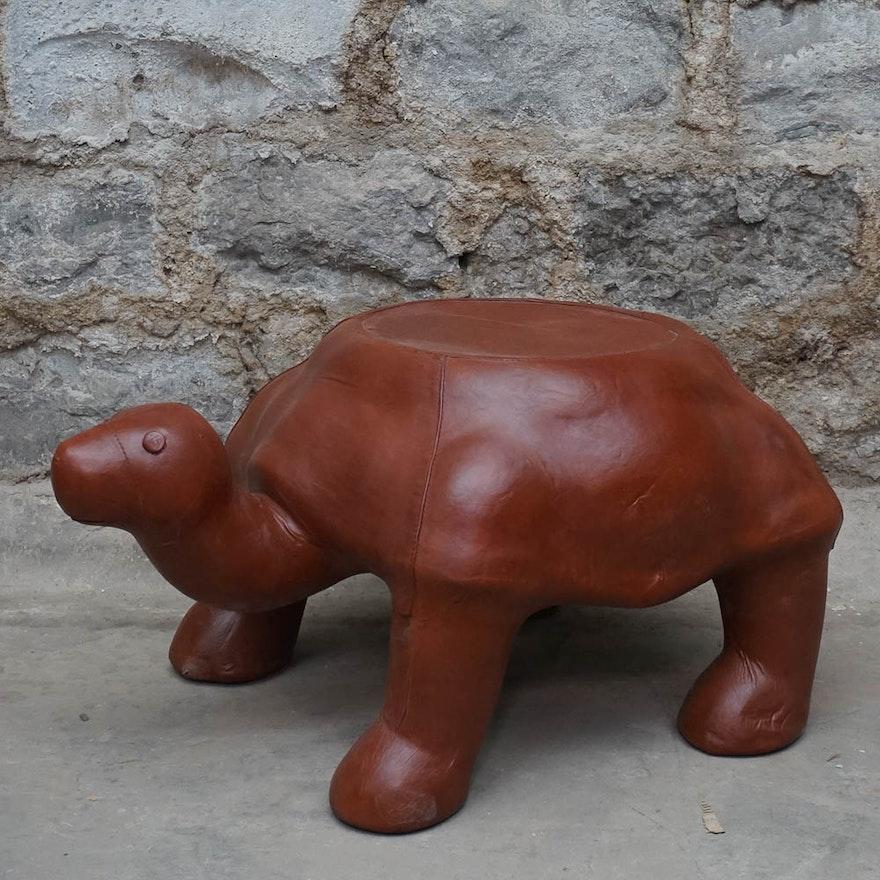 Leather Turtle Ottoman Ebth