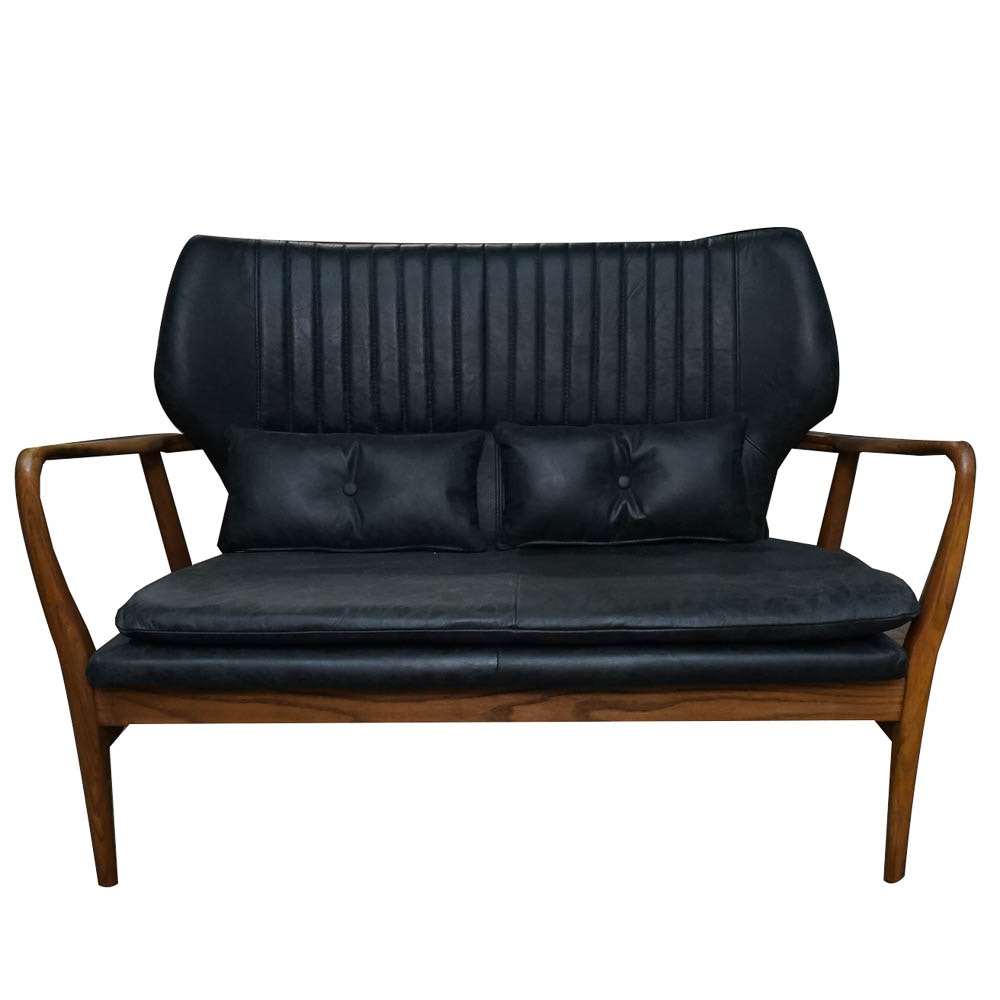 Danish Modern Style Walnut and Leather Settee