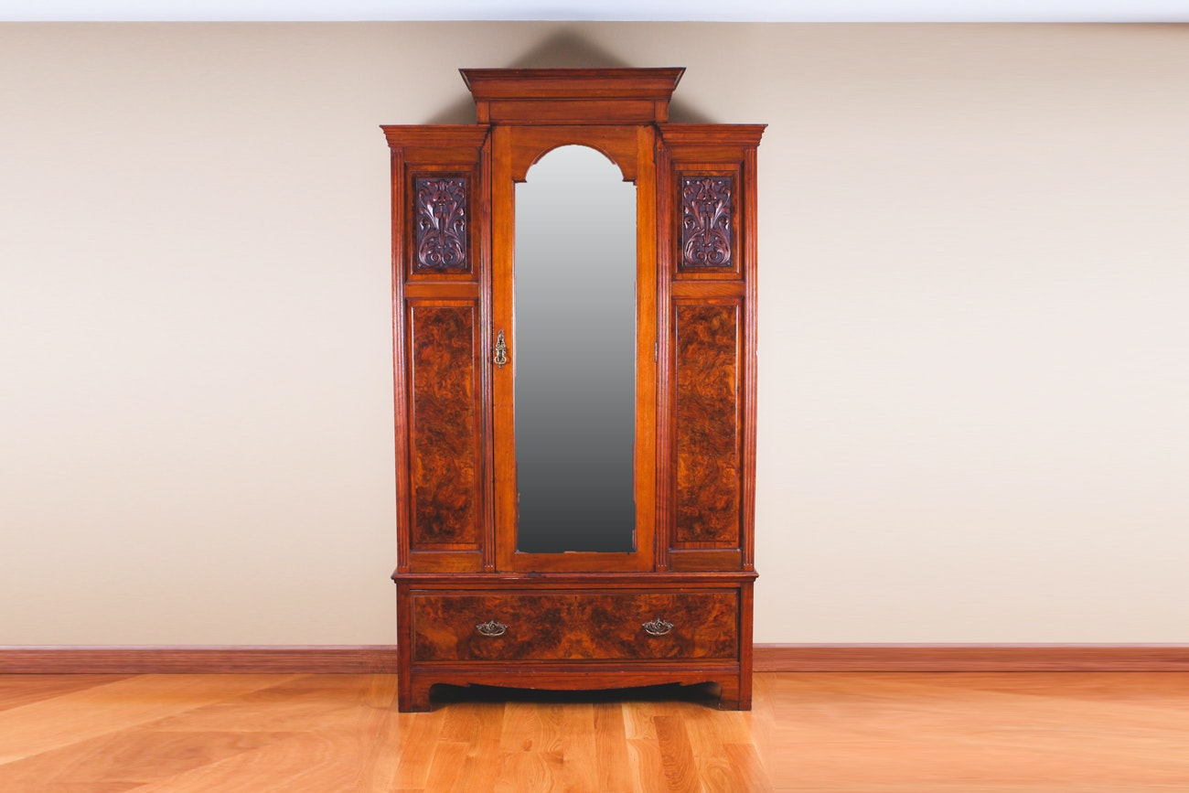 Antique Late Victorian Walnut Armoire Ebth