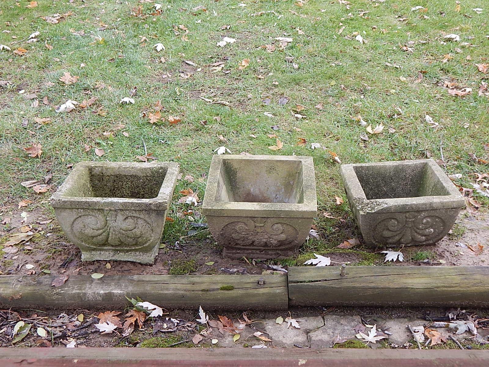Three Cement Planters