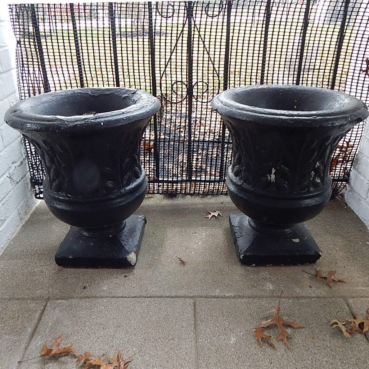 Two Black Painted Concrete Planters