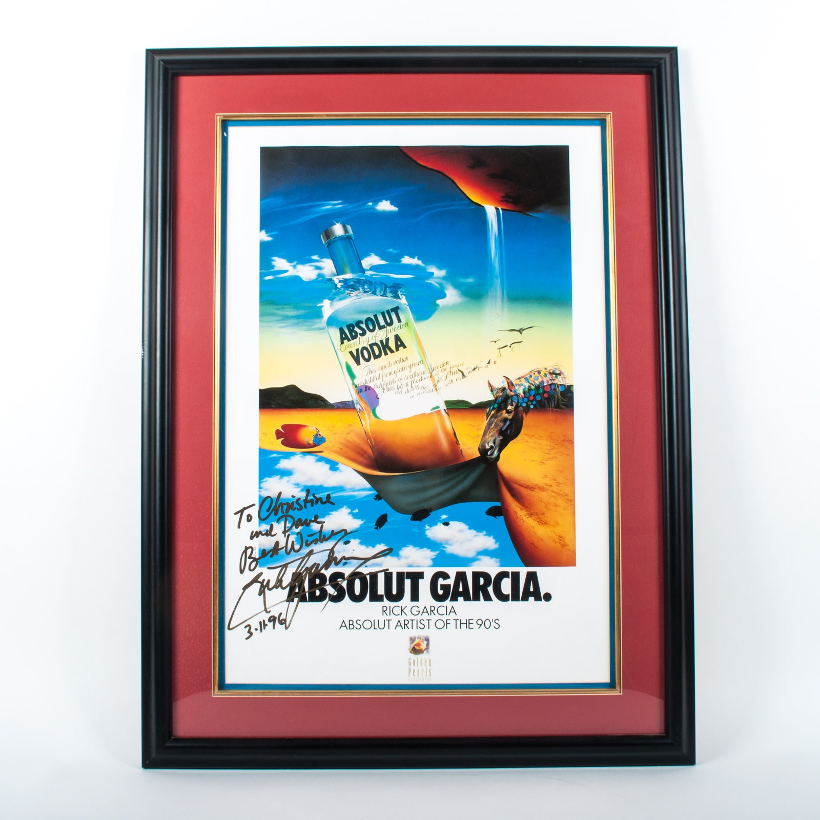 Framed Rick Garcia Signed and Personalized Absolut Poster