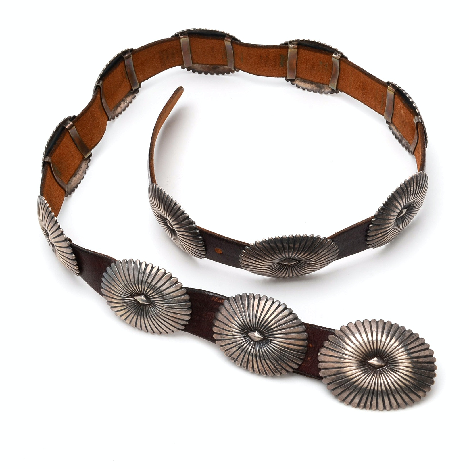 Southwestern Style Sterling Silver Brown Leather Concho Belt