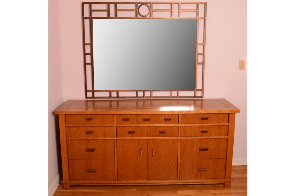 Mid Century Modern Oak Sideboard and Mirror by Robert Sonneman for Stanley