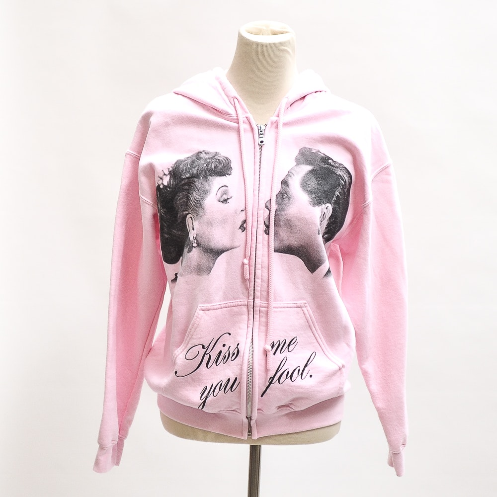 I Love Lucy Pink Sweatshirt Jacket