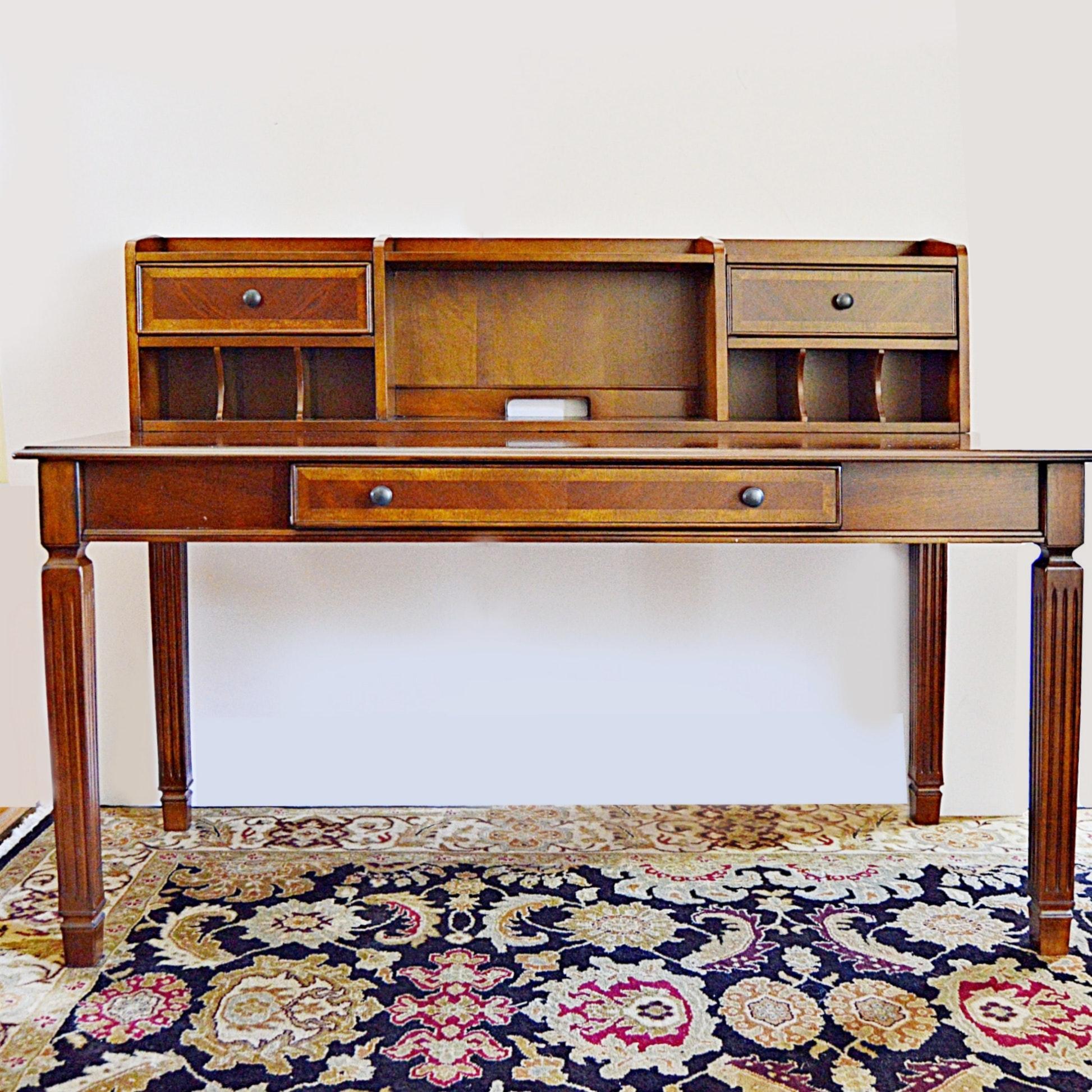 Traditional Sheraton Style Mahogany Desk with Back Organizer