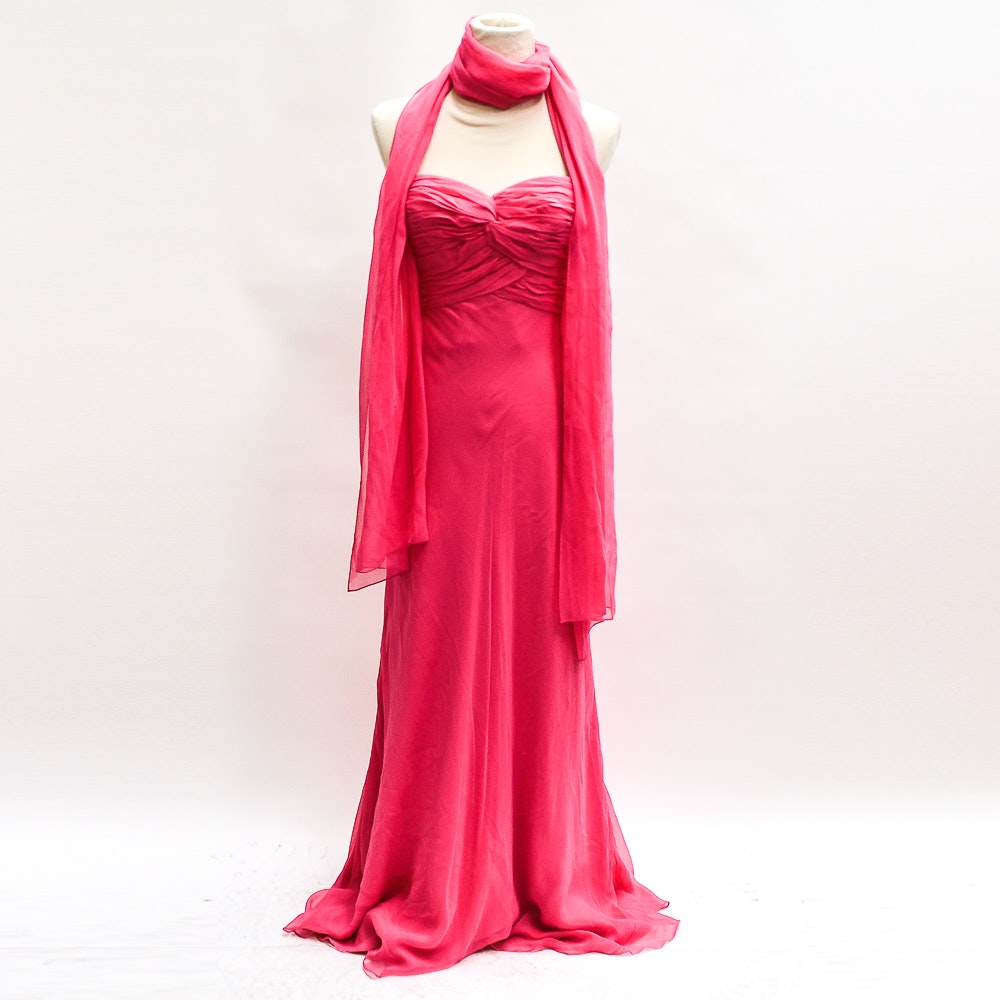 Carmen Marc Valvo Signature Pink Evening Gown