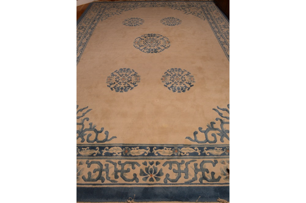 "Hand-Knotted Chinese ""Savonerie"" Carved Wool Area Rug by H. Medill Sarkisian"