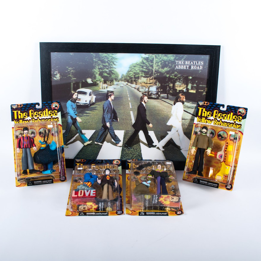 Beatles Yellow Submarine Figures And Framed Abbey Road Three Dimensional Poster