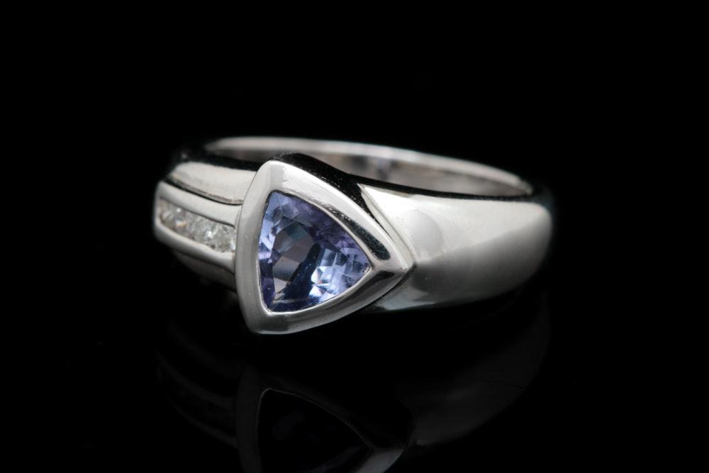 14K White Gold, Tanzanite and Diamond Ring