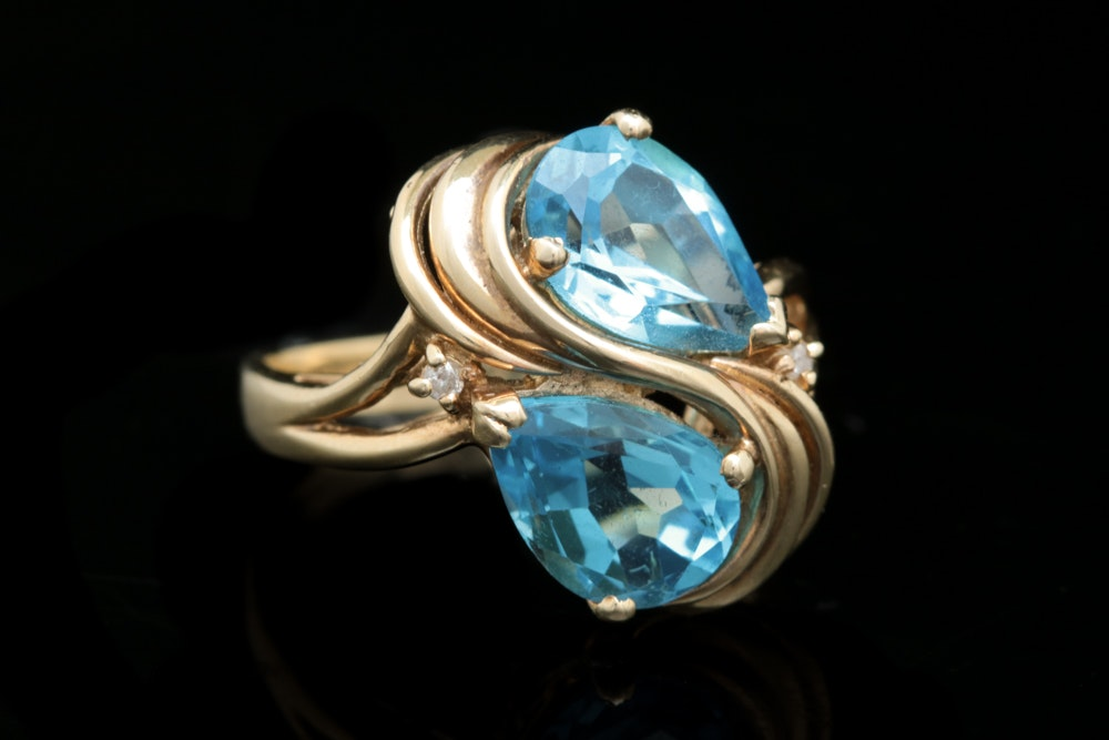 14K Yellow Gold, Blue Topaz and Diamond Ring