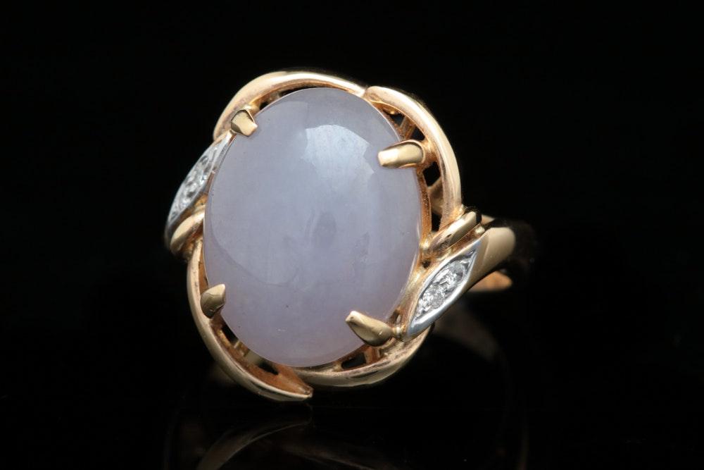 14K Yellow Gold, Purple Jadeite and Diamond Cocktail Ring
