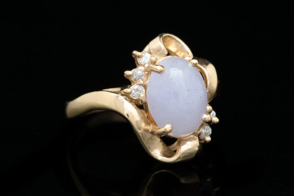 14K Yellow Gold, Purple Jadeite and Diamond Ring