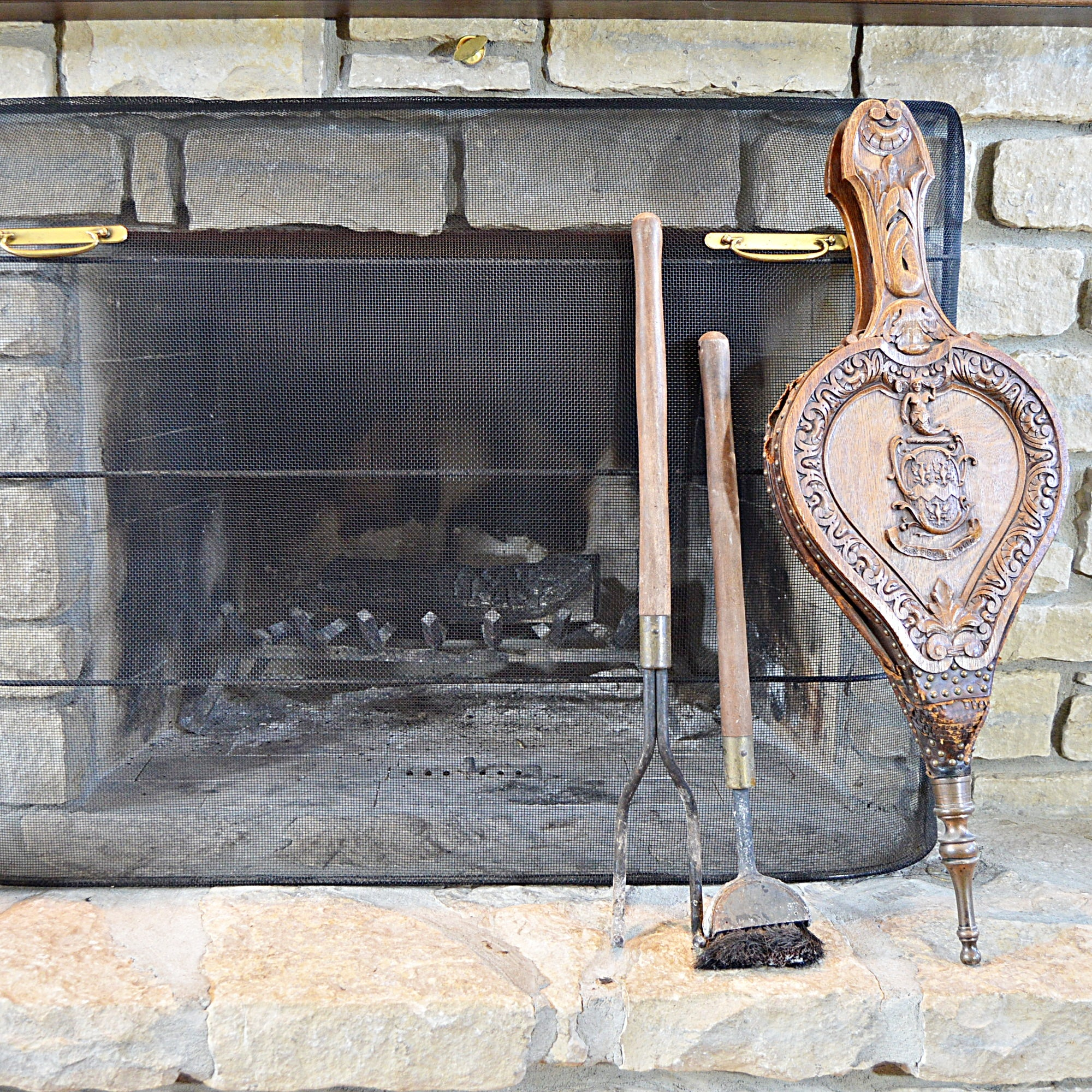 Fireplace Screen and Hearth Tools with Vintage Bellows