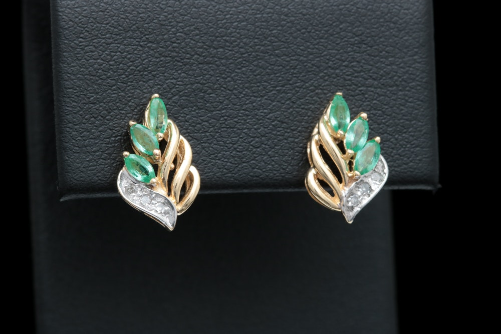 14K Yellow Gold, Emerald and Diamond Drop Earrings