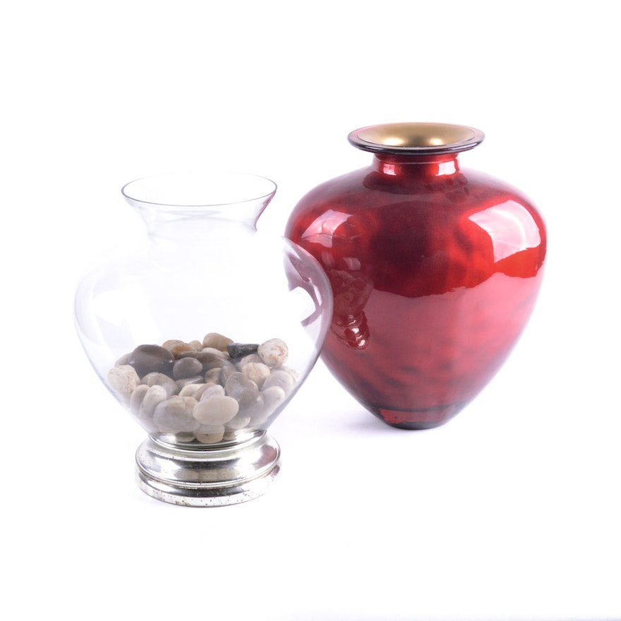 Glass Pottery Barn Vase And A Red And Gold Vase Ebth