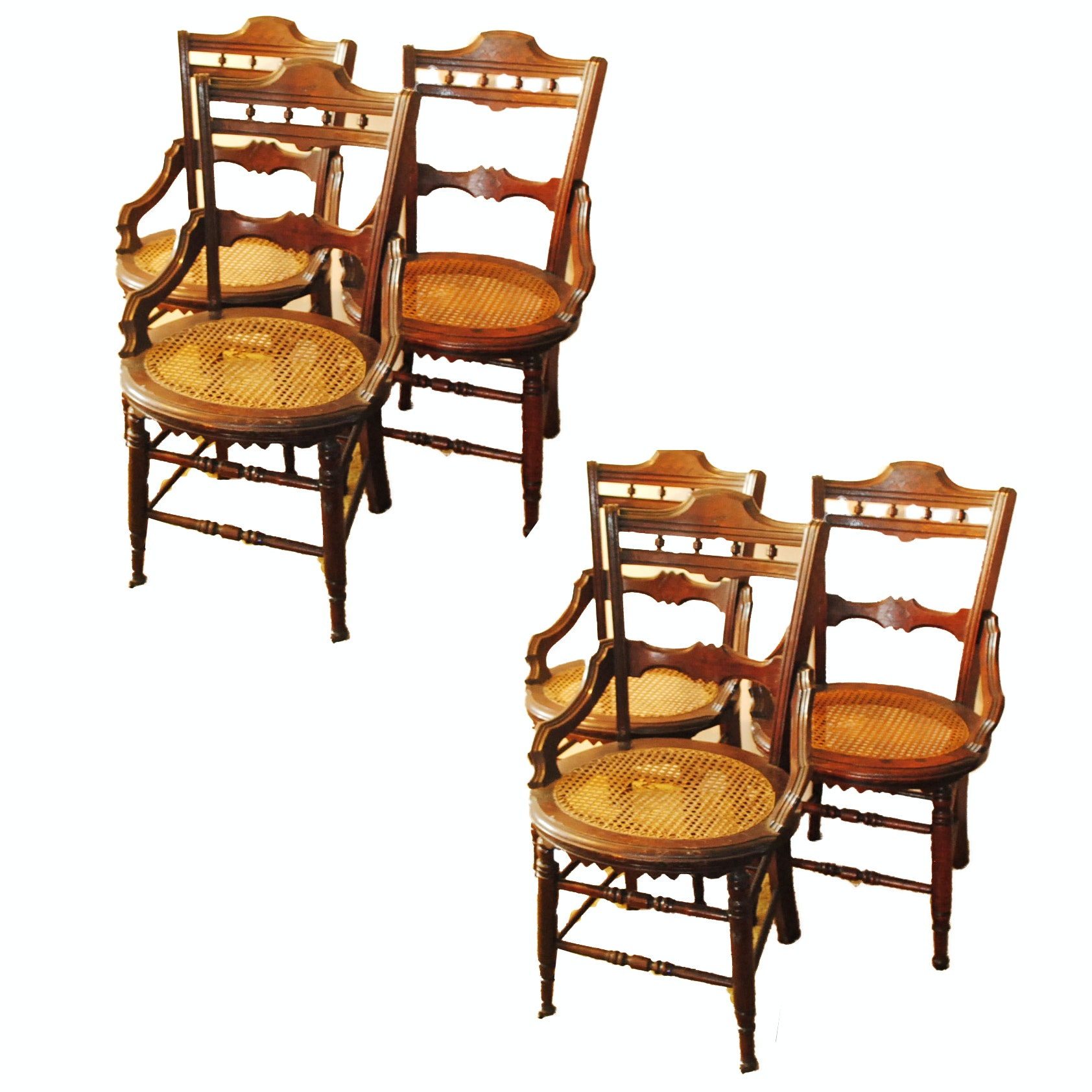 Set of Six Antique Eastlake Dining Chairs
