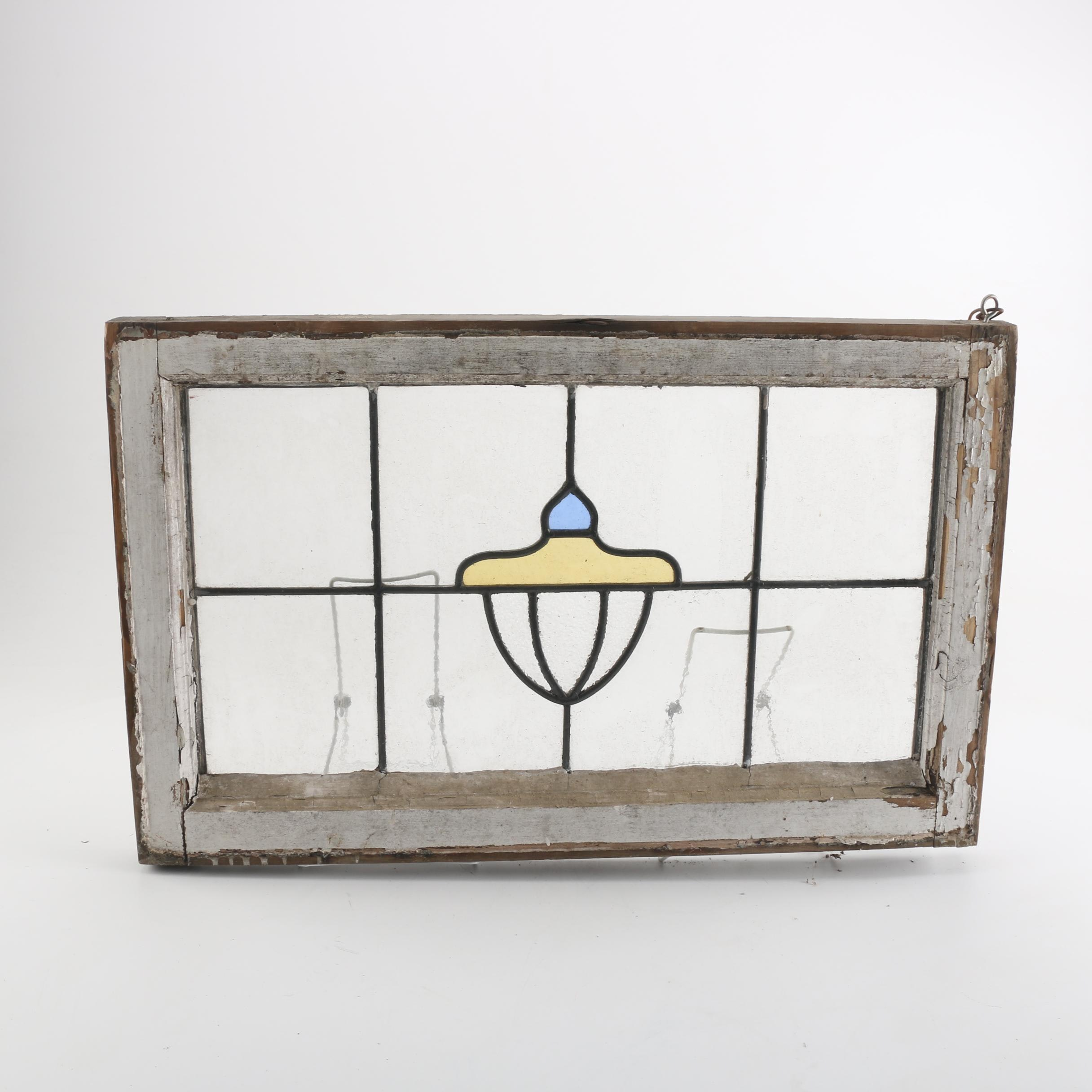 Wood Framed Stained Glass Window