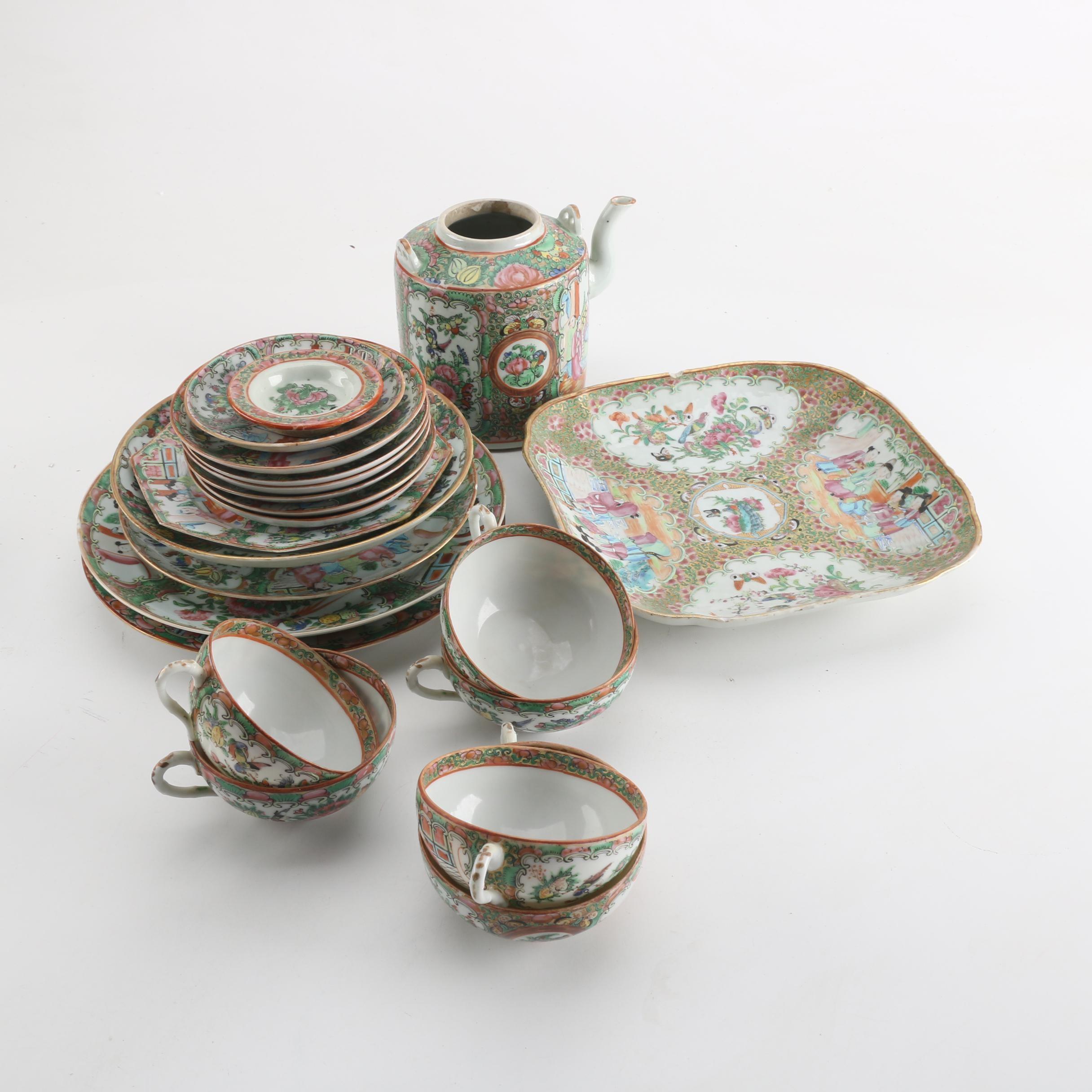 Porcelain Rose Medallion Serveware Pieces