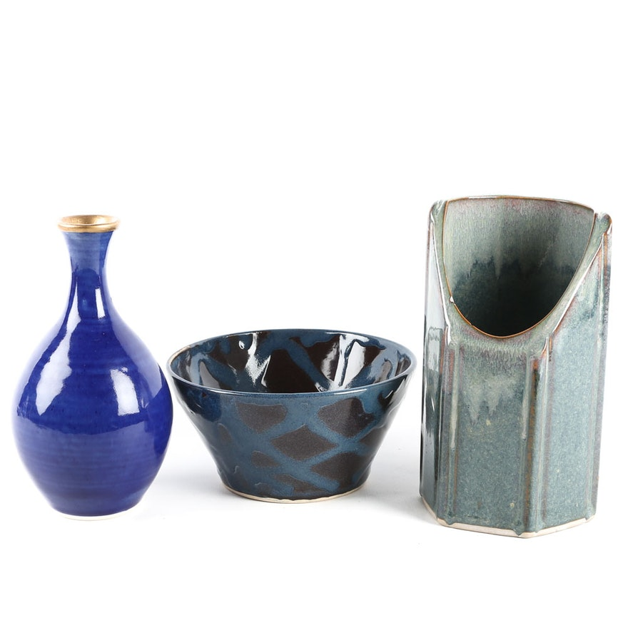 Three Hand Thrown Pottery Vessels Ebth