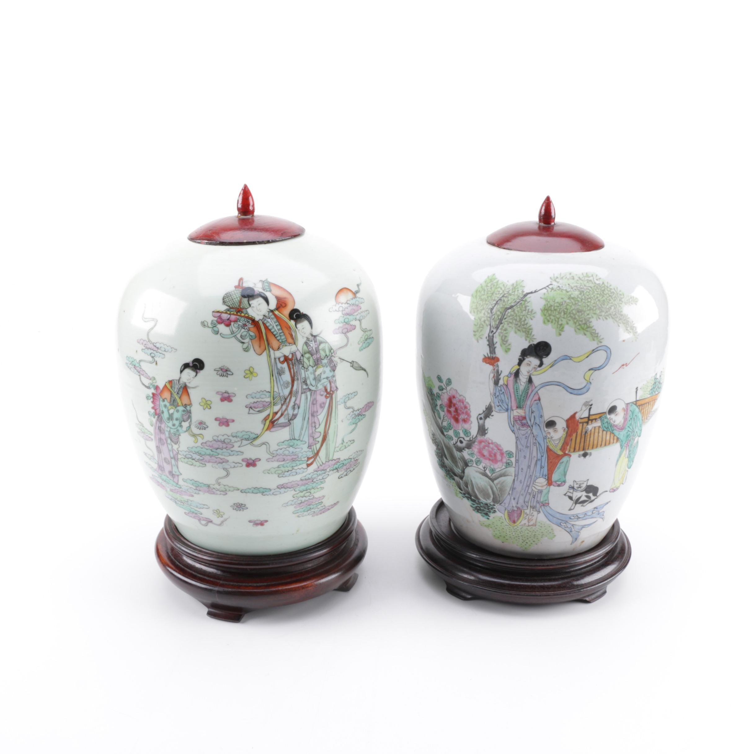 Vintage Chinese Enameled Porcelain Urns