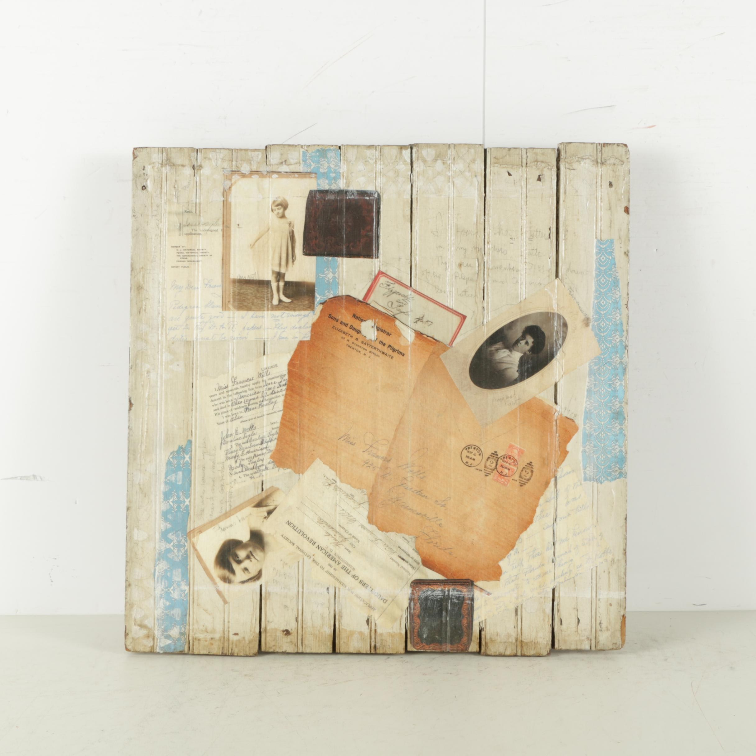 Mixed Media Collage Attributed to David Widmer